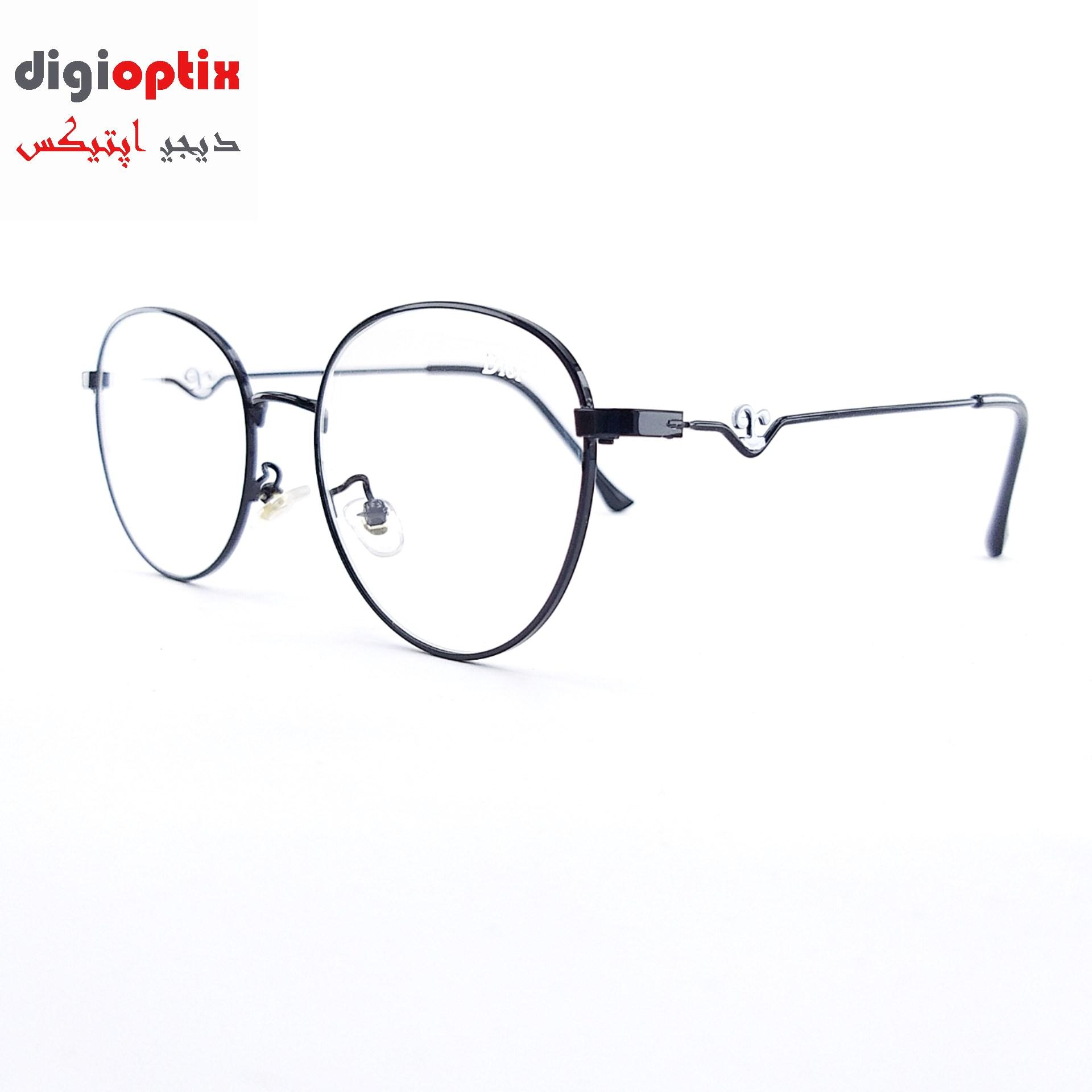 فریم عینک طبی فلزی مارک Dior رنگ مشکی مدل فانتزی