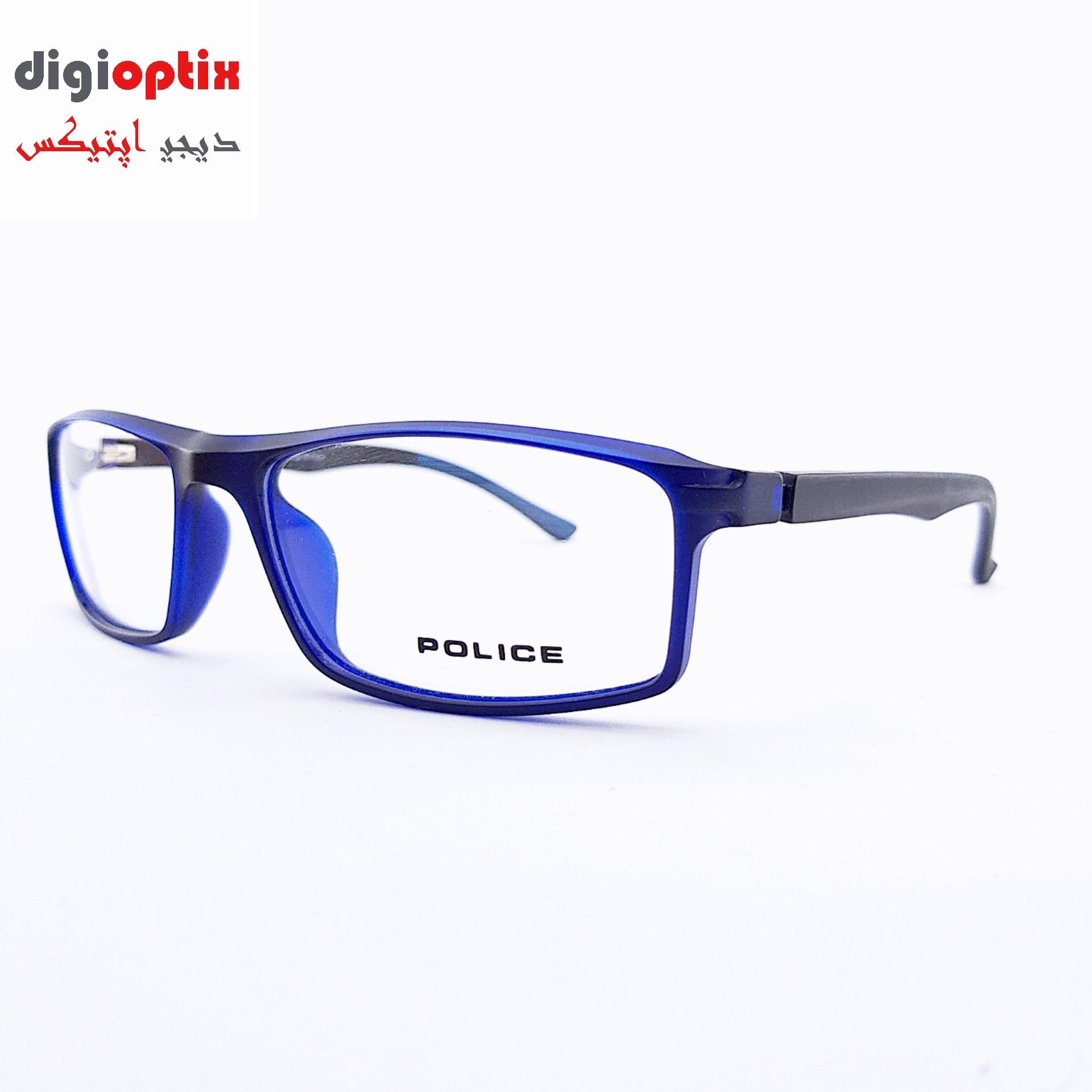 فریم عینک طبی اسپورت مارک POLICE رنگ مشکی آبی مدل H86