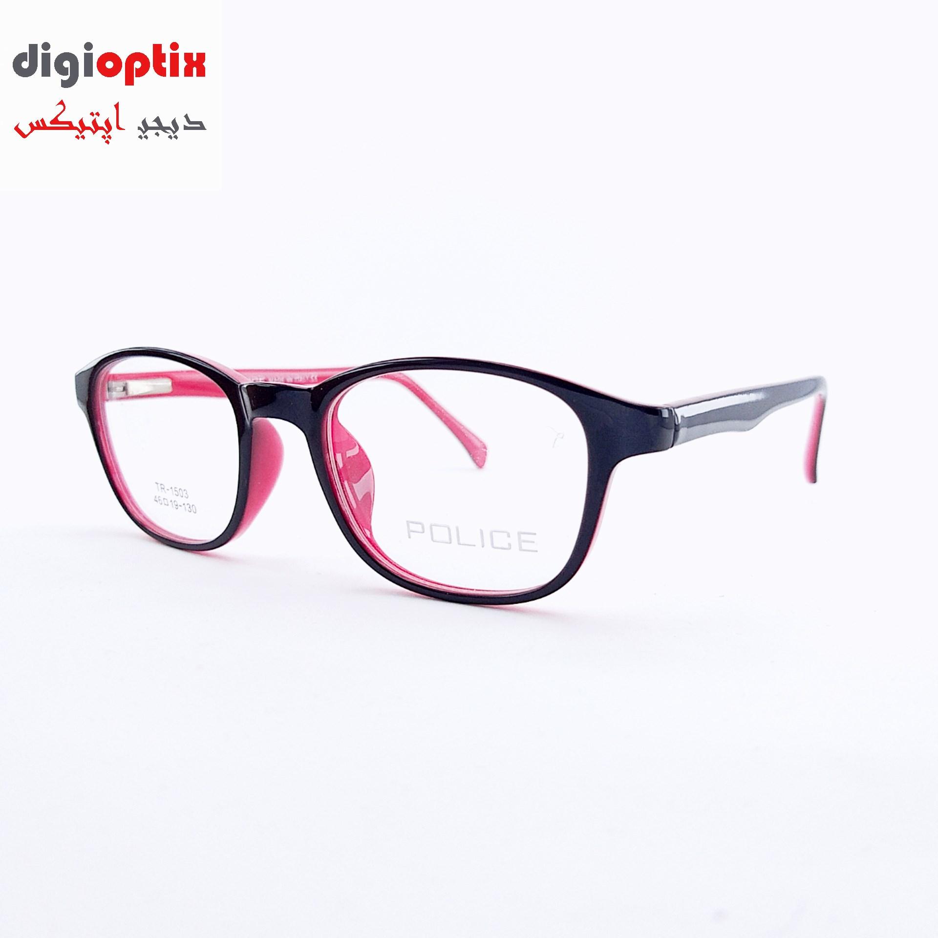 فریم عینک طبی بچگانه استات مارک POLICE رنگ مشکی - قرمز مدل TR-1503